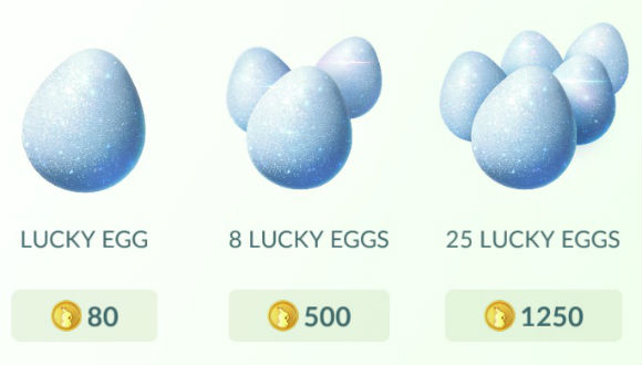 Цена Lucky eggs в Pokemon Go